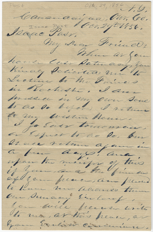 Barnard, L E ?. Letter to Isaac Post.