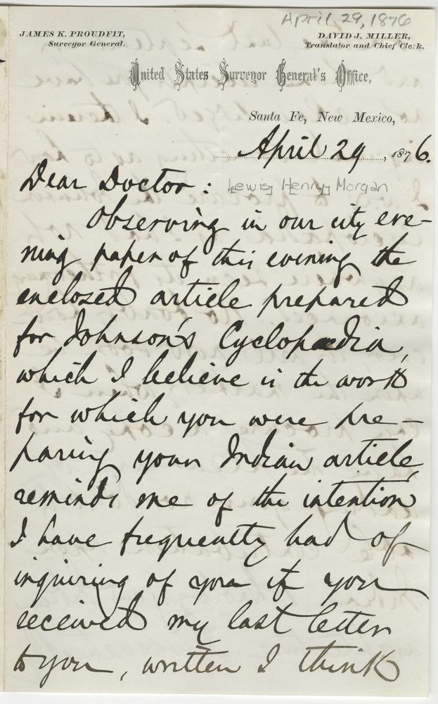 Miller, David J. Letter to Lewis Henry Morgan (1876-04-29)