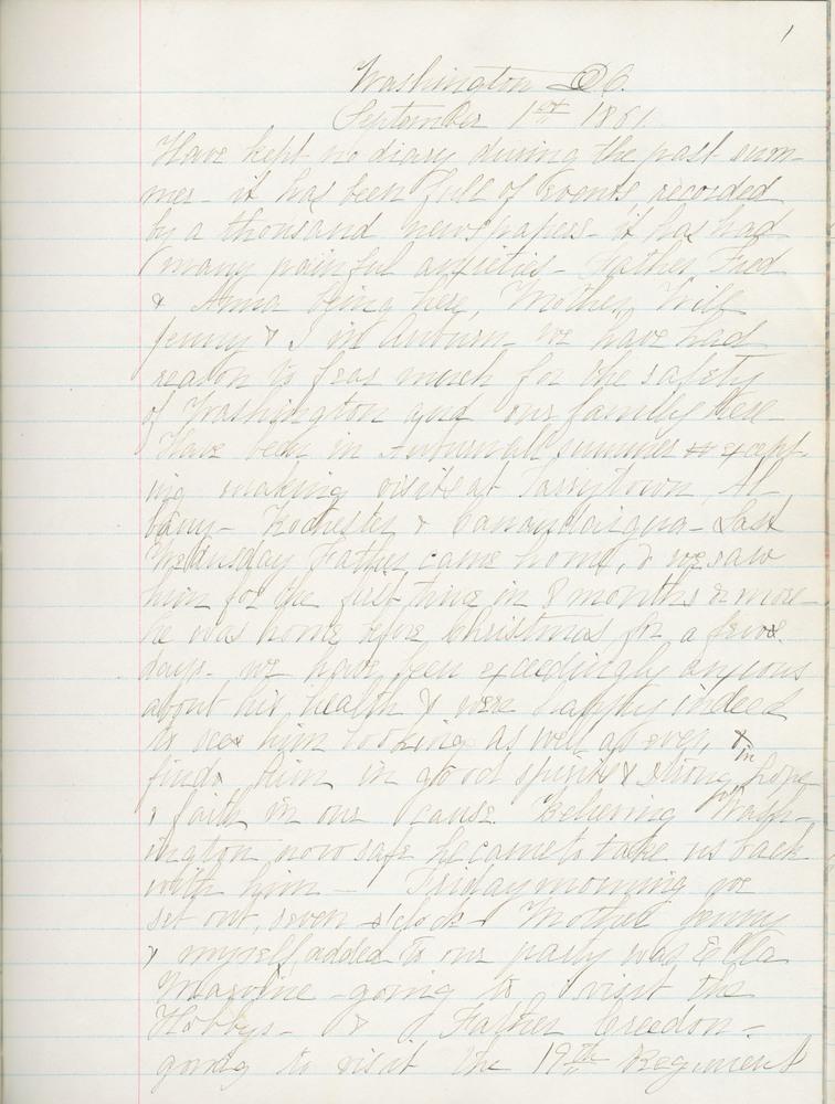 Diary entry from Fanny Seward, September 1, 1861