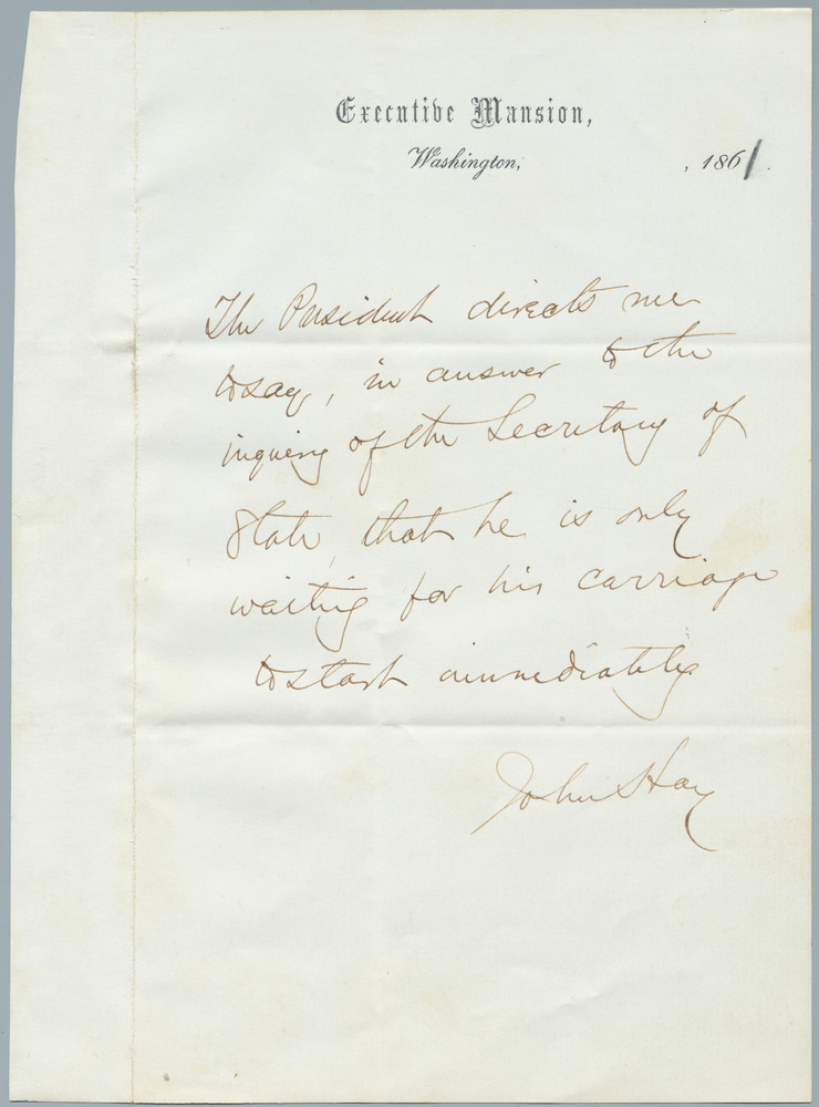 Note from John Hay to William Henry Seward, 1861