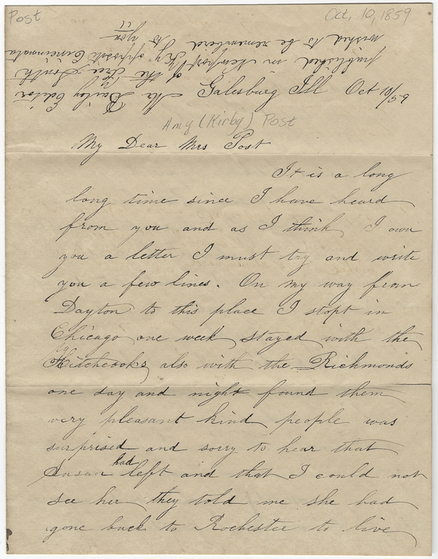 Beebe, Emily G ?. Letter to Amy Kirby Post.