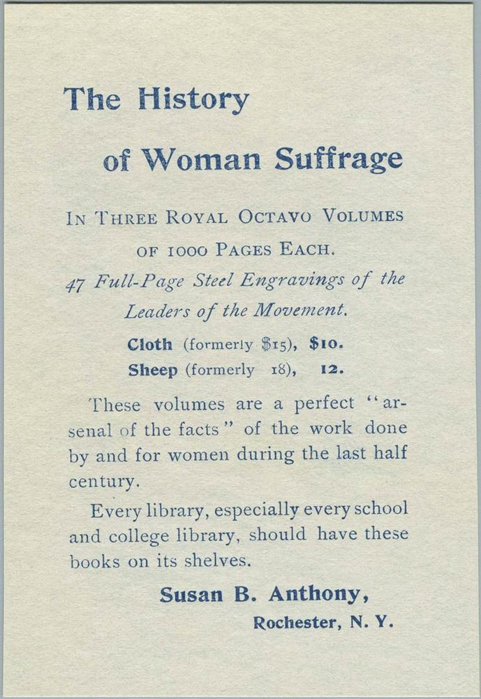 History of Woman Suffrage, volume III