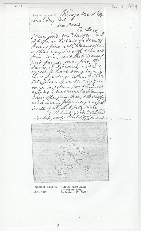 Richmond, H M. Letter to Amy Kirby Post.