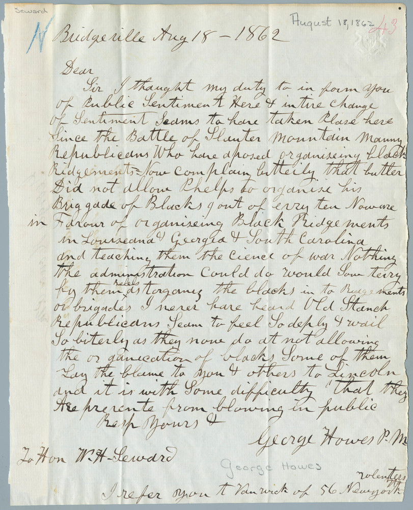 Letter from George Howes to William Henry Seward, August 18, 1862
