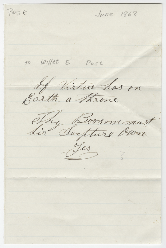 Unknown writer. Letter to Willet E Post.