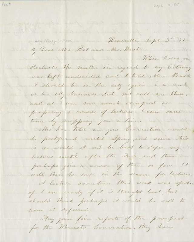 Letter from Antoinette Brown Blackwell to Amy Post