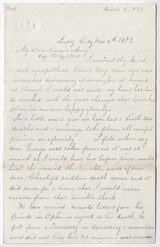 Willets, Ann M. Letter to Amy Kirby Post.