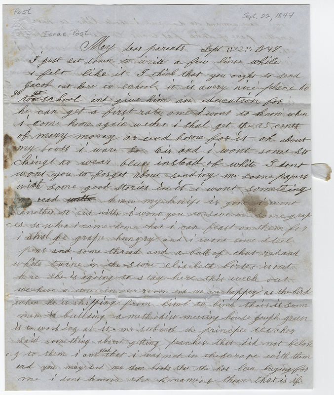 Post, Joseph W. Letter to Isaac Post.