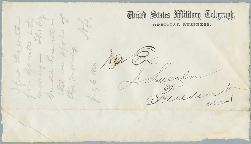 Note from Abraham Lincoln to William Henry Seward, July 6, 1864