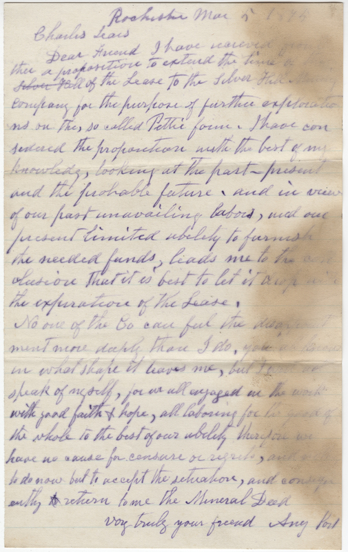 Post, Amy Kirby. Letter to Charles Lears.