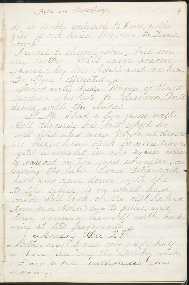 Diary entry from Fanny Seward, December 27, 1858