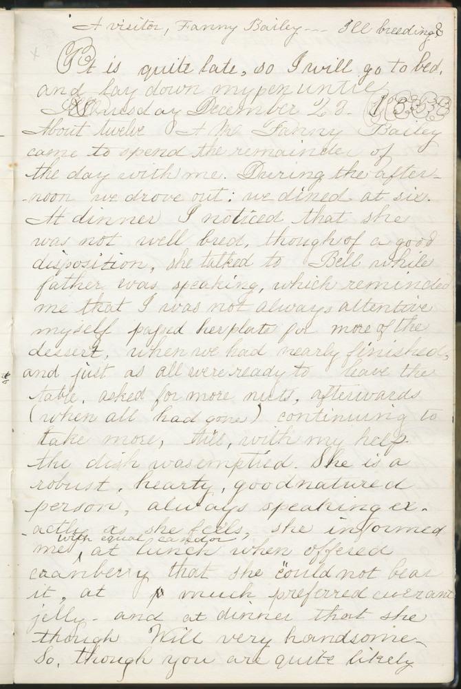 Diary entry from Fanny Seward, December 28, 1858