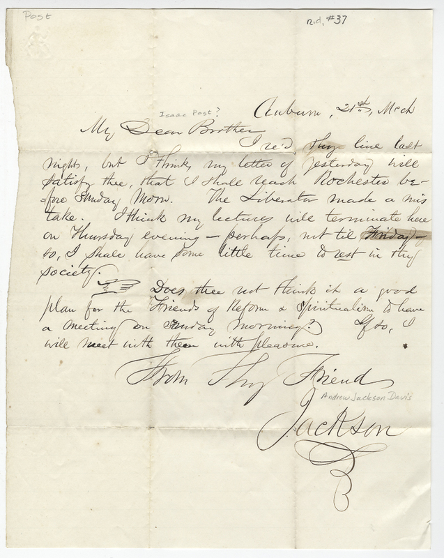 Davis, Andrew Jackson. Letter to Isaac ? Post.