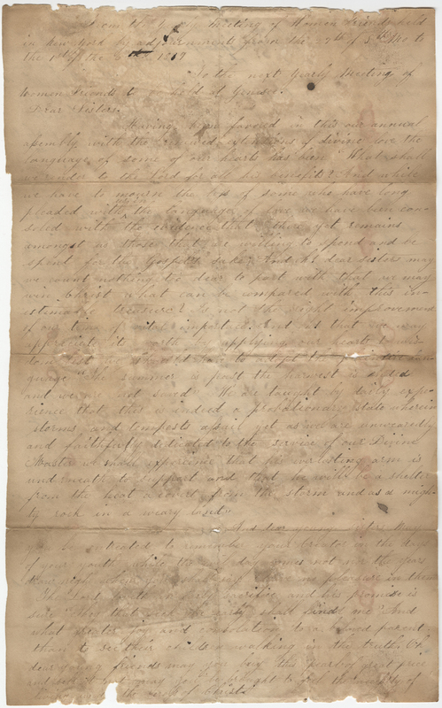 Comstock, Ann M. Letter to unknown recipient.