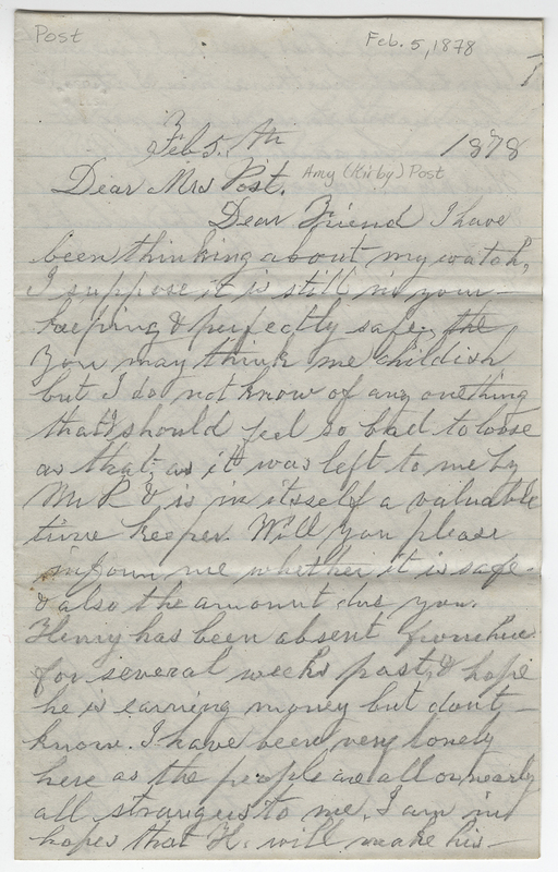 Wallace, Almira P. Letter to Amy Kirby Post.