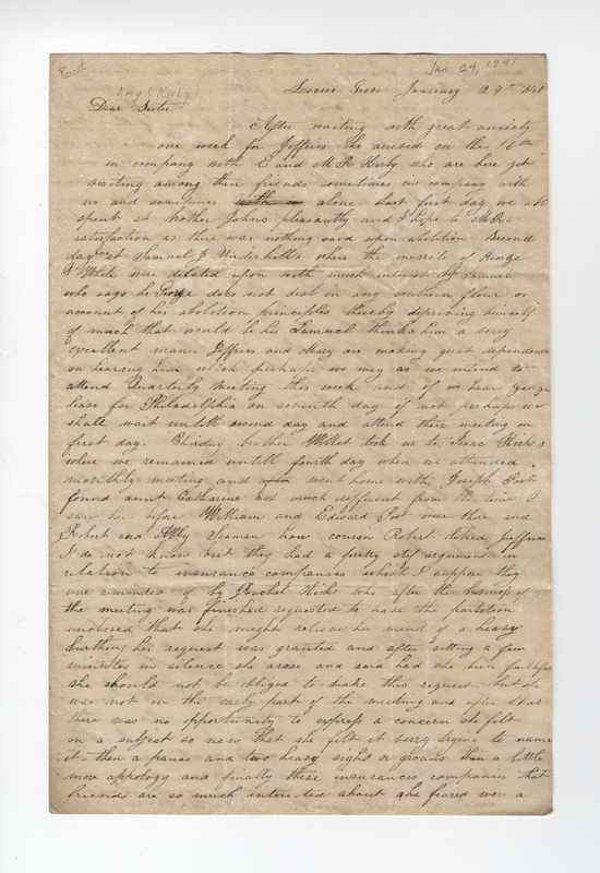 Willis, Sarah L. Kirby Hallowell. Letter to Amy Kirby Post.