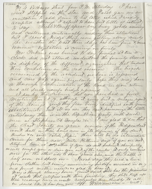 Bruff, William W ?. Letter to Isaac Post.