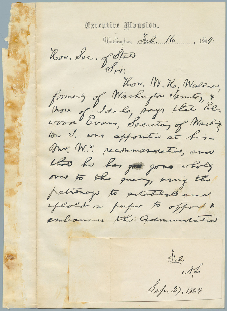 Letter from Abraham Lincoln to William Henry Seward, February 16, 1864