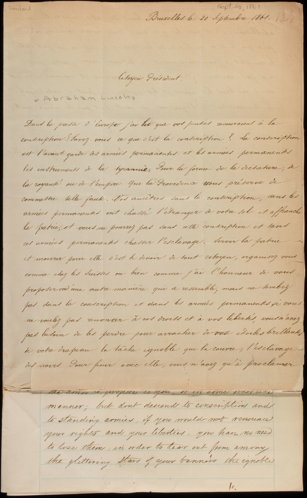 Letter from a Belgian citizen soldier to Abraham Lincoln, September 20, 1861