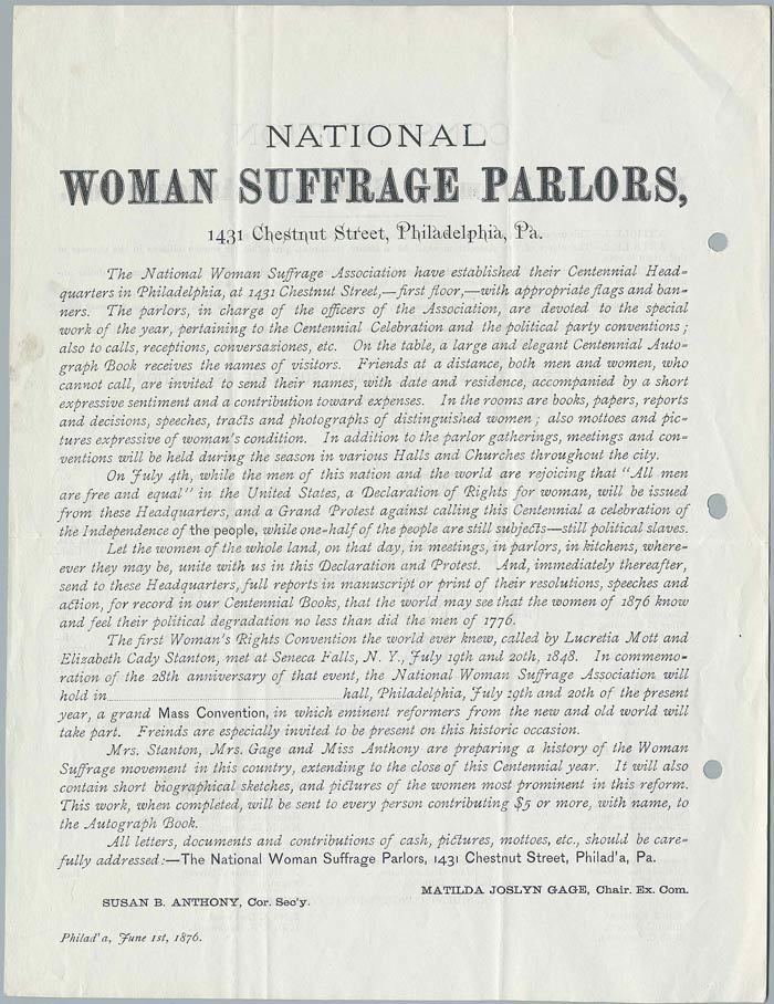National Woman Suffrage parlors<br />
