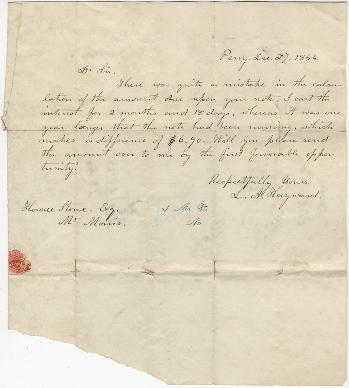 Hayward, L.H. Letter to Horace Stone.