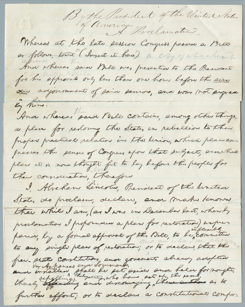 Draft of a proclamation by Abraham Lincoln