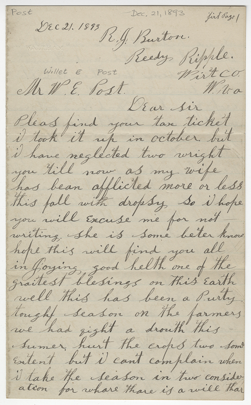 Burton, R J. Letter to Willet E Post.