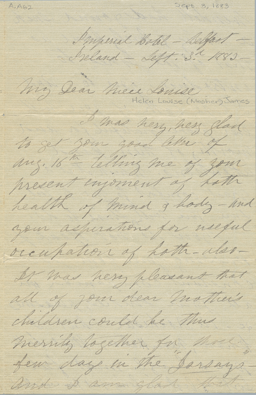 Letter from Susan B. Anthony to Louisa Mosher, 1883
