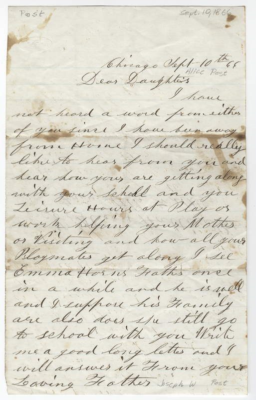 Post, Joseph W. Letter to Alice Post.
