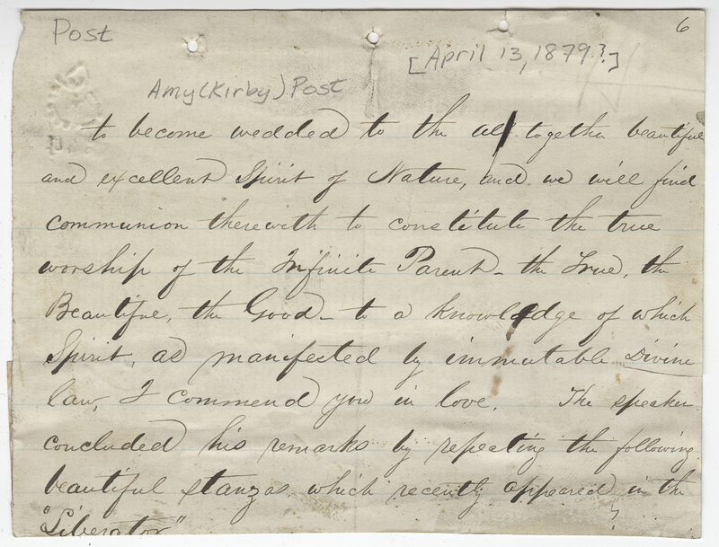 Unknown writer. Letter to Amy Kirby ? Post.