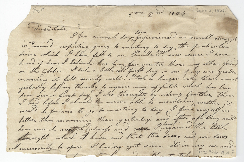 Willis, Phebe Post. Letter to unknown recipient.