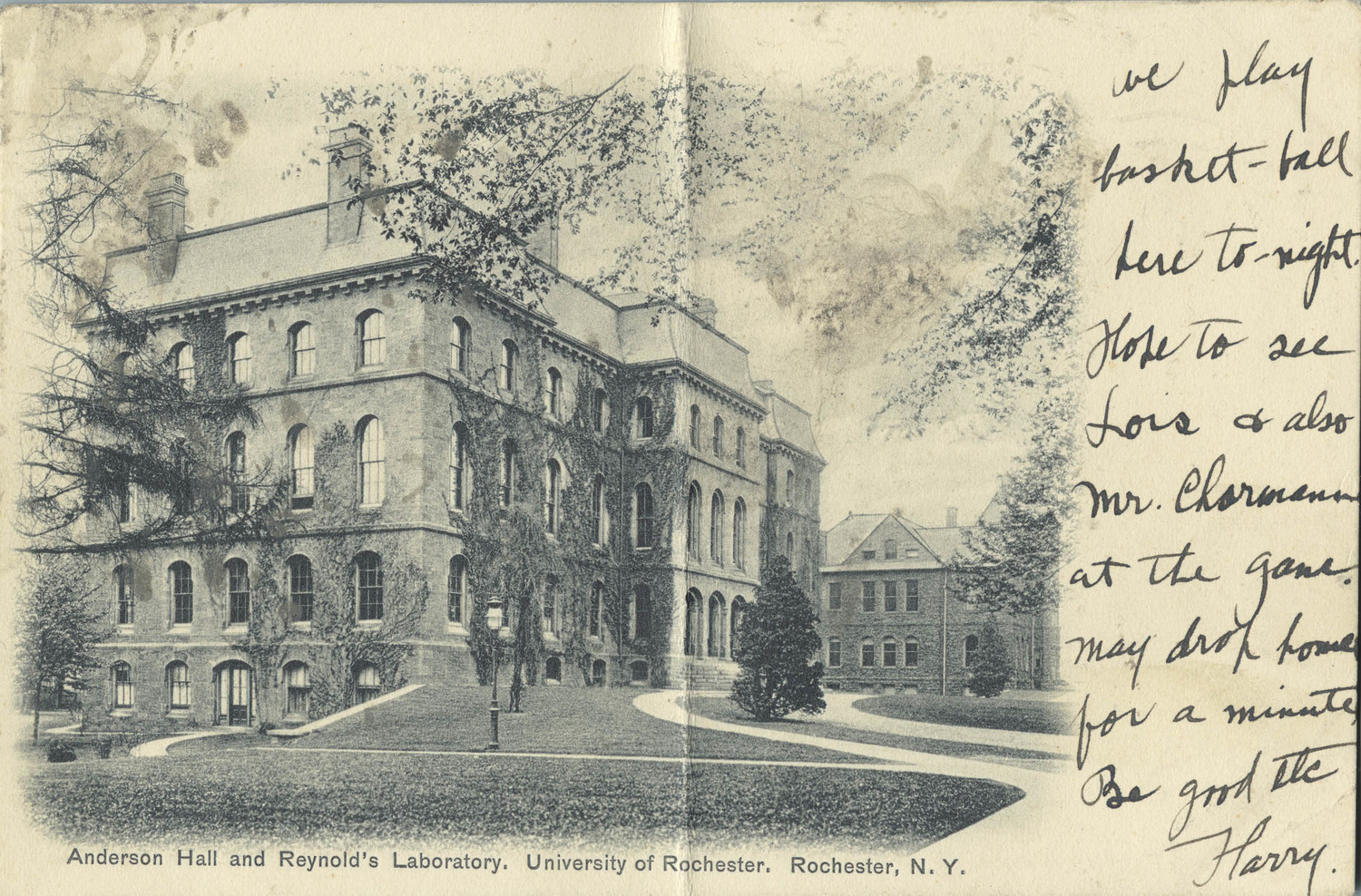 Anderson Hall and Reynolds Laboratory. University of Rochester, Rochester, N.Y.