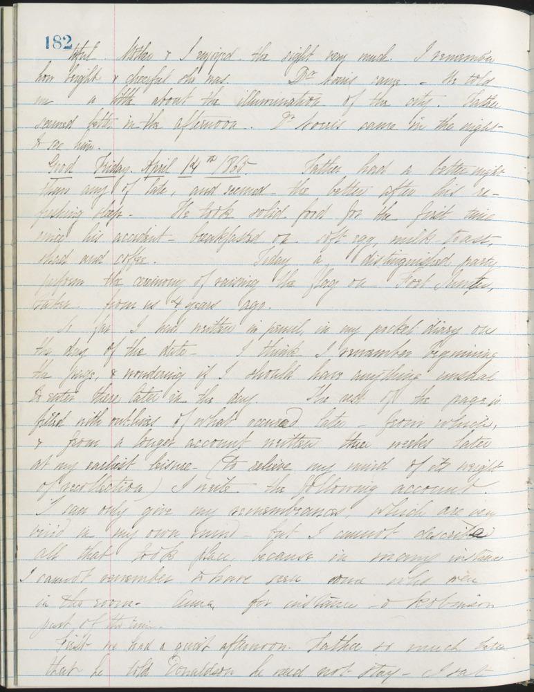 Diary entry from Fanny Seward, April 14, 1865