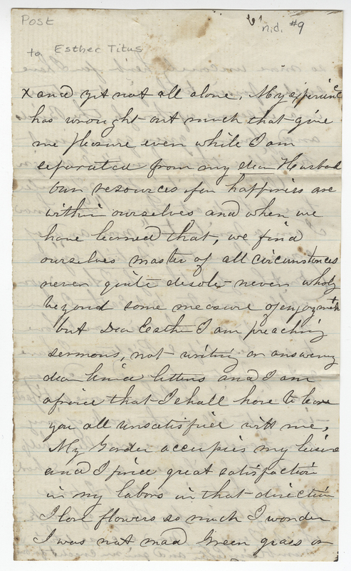 Unknown writer. Letter to Esther Titus.