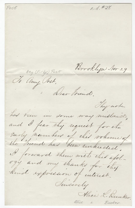 Bunker, Alice L. Letter to Amy Kirby Post.