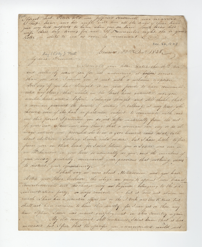 Clayton, Henry. Letter to Amy Kirby Post.