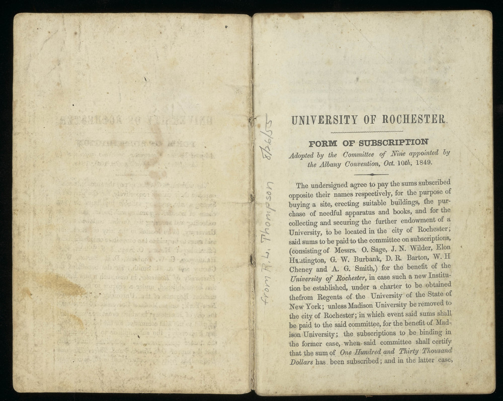 Subscription book to fund University of Rochester, 1850