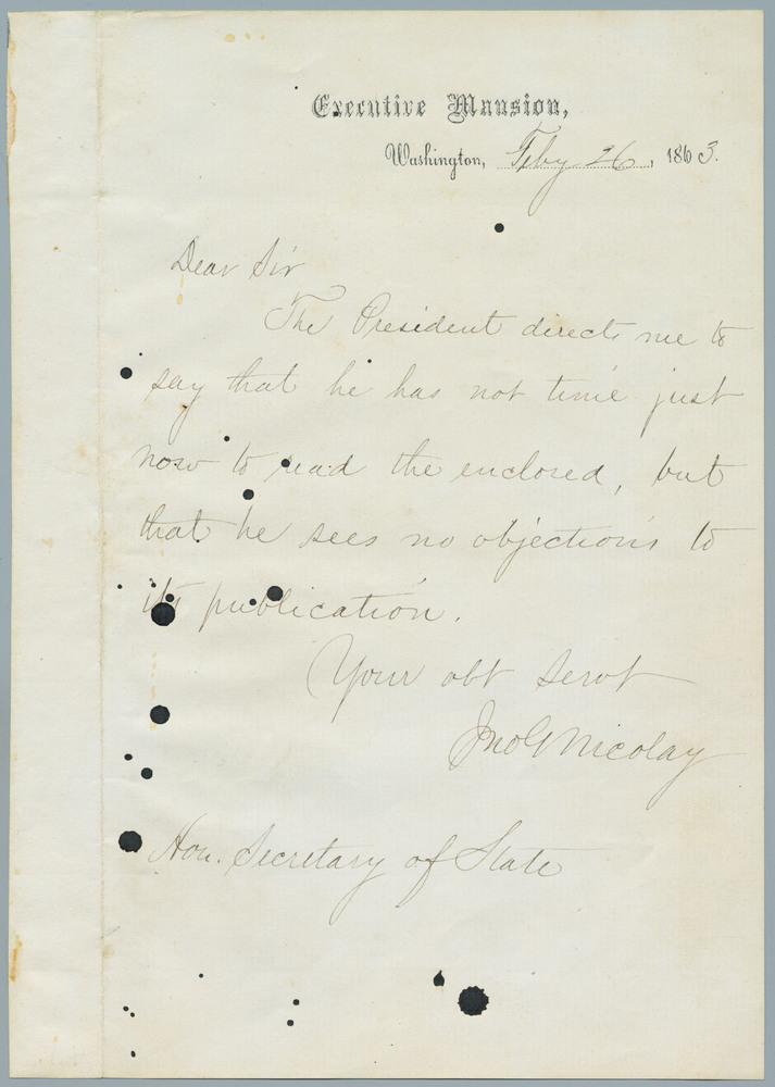 Note from John Nicolay to William Henry Seward, February 26, 1863