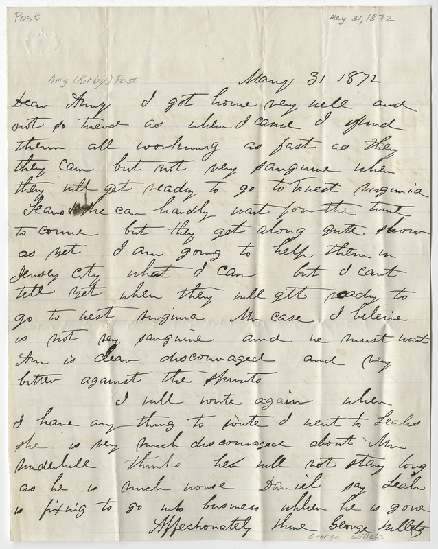 Willets, George. Letter to Amy Kirby Post.