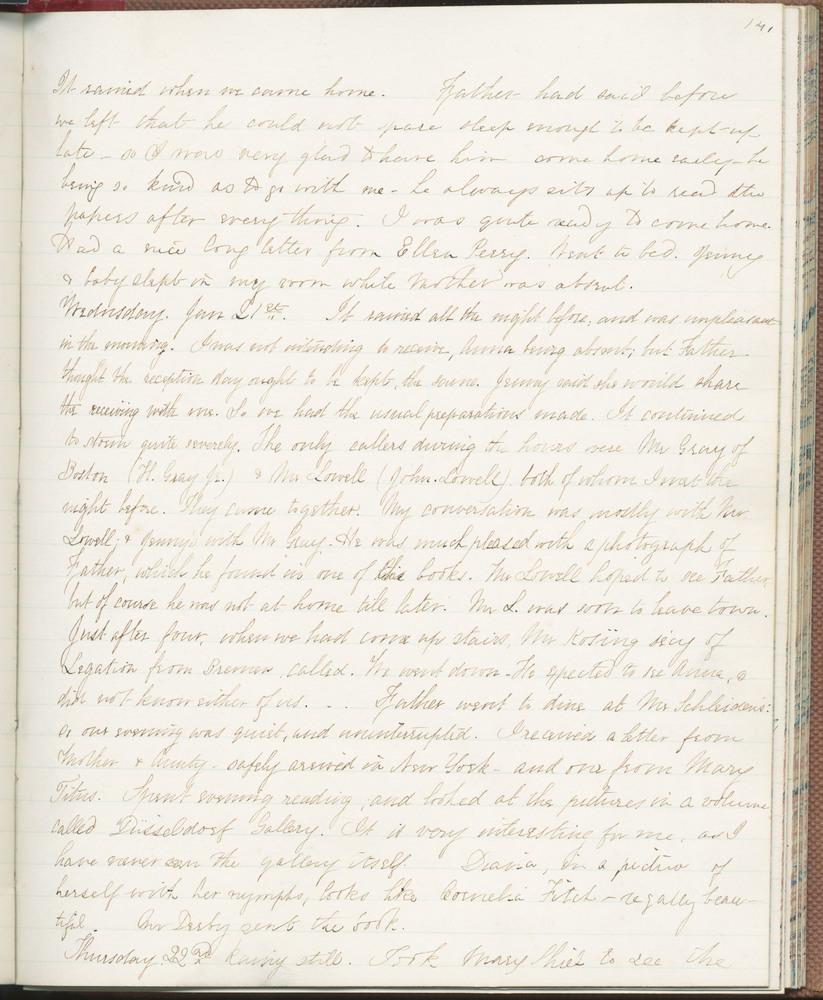 Diary entry from Fanny Seward, January 22, 1863