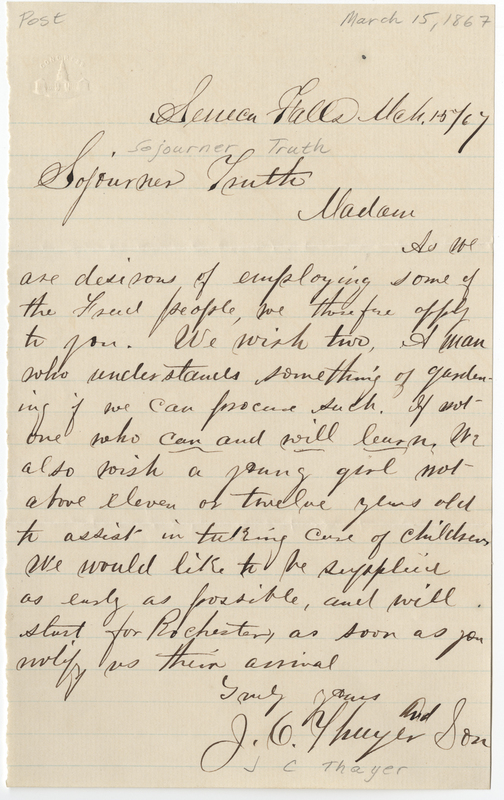 Thayer, J C. Letter to Sojourner Truth.