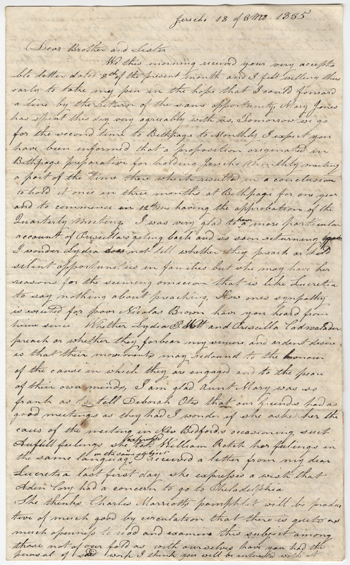 Willis, Phebe Post. Letter to Isaac Post.
