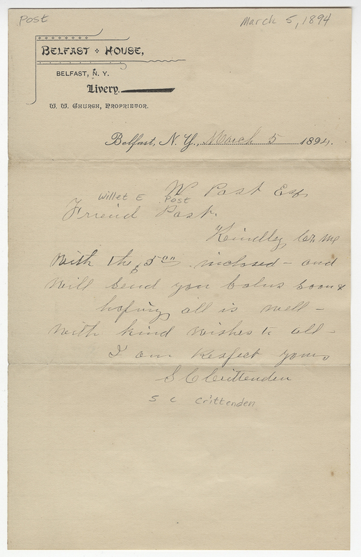 Crittenden, S C. Letter to Willet E Post.