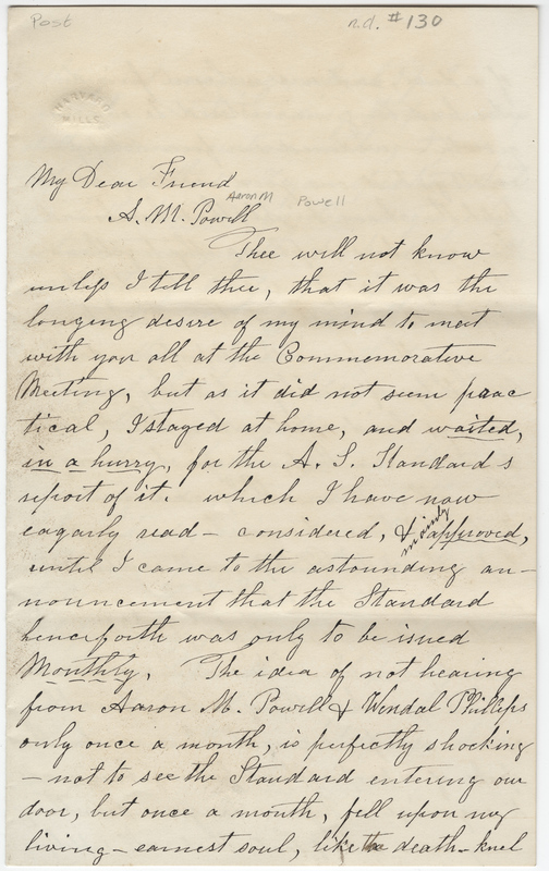 Post, Amy Kirby. Letter to Powell Aaron M.