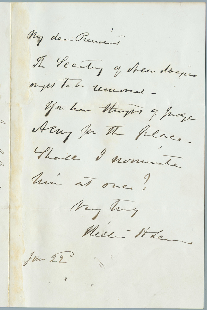 Note from William Henry Seward to Abraham Lincoln, January 22, 1862