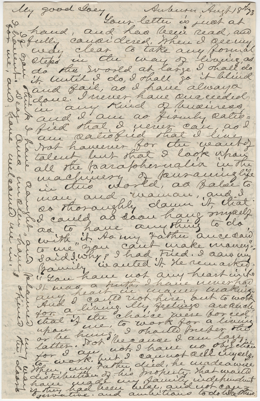 Unknown writer. Letter to Josephine E. Wheeler.