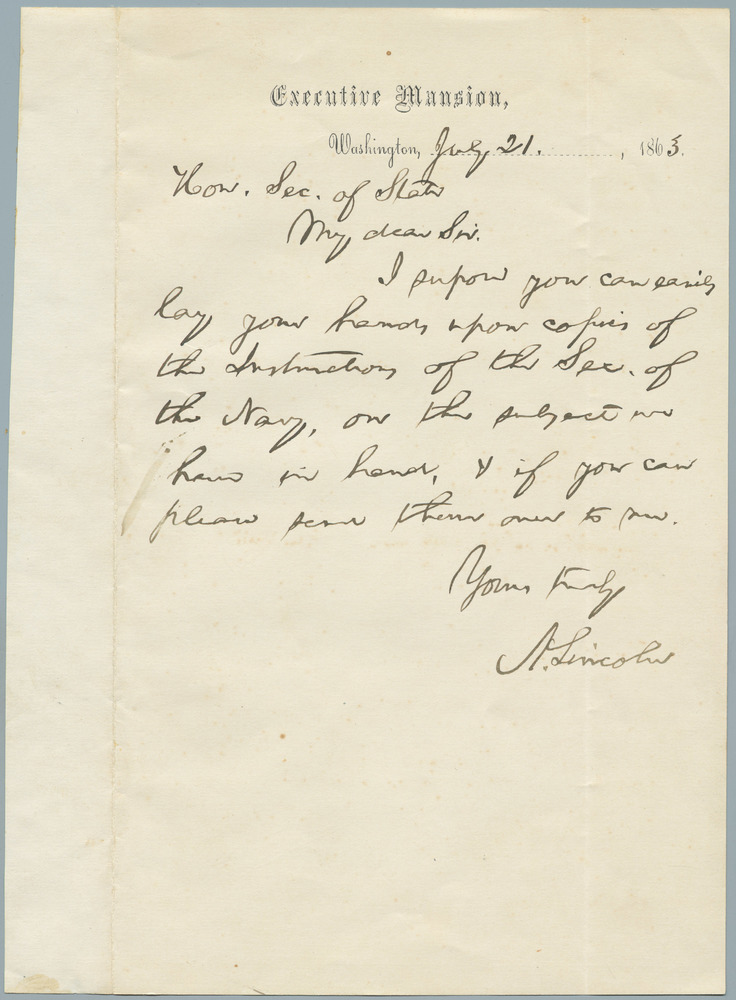 Note from Abraham Lincoln to William Henry Seward, July 21, 1863
