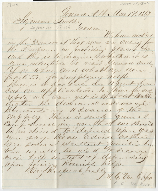 Van Epps, A. C. Letter to Sojourner Truth.