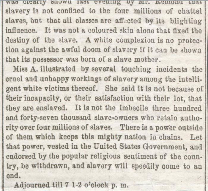 Susan B. Anthony's published remarks on anti-slavery in the <i>National Anti-Slavery Standard</i>, 1858<br />