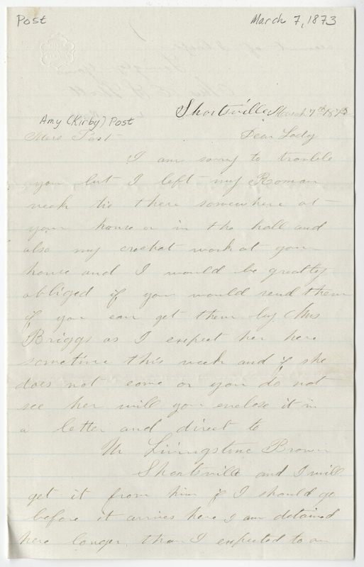 Mott, E L. Letter to Amy Kirby Post.